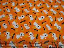 3 Yards Quilt Cotton Fabric - AE Nathan Halloween Ghosts & Bats on Orange