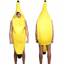 Fun Adult Banana Body Suit Halloween Party Costume Men Funny Fruit Fancy Dress