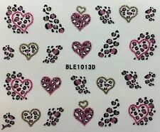 Nail Art 3D Decal Stickers Glittery Leapard Print Hearts BLE1013D