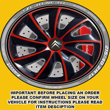 14 INCH SET OF 4 BLACK/RED WHEEL TRIMS HUB CAPS COVERS CITROEN BERLINGO XSARA