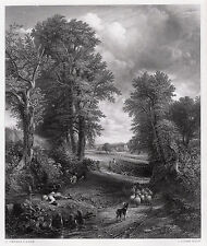 """Nice 1800s John CONSTABLE Detailed Antique Engraving """"The Corn Field"""" SIGNED COA"""