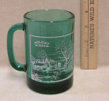 Green Glass Mug Cup w/ Holiday 1993 Christmas Winter Scene Farm House Country