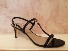 NIB Tory Burch T LOGO Patent Leather 65 mm Sandals Shoes BLACK 11 M