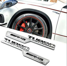 2PCS AMG TURBO Auto Alloy 3D Metal Emblem Badge Decal Sticker for Mercedes Benz
