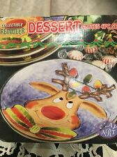 "2003 Clay Art Hand Painted Christmas ""Reindeer"" Dessert Plates- 8.25"" (4) NEW"