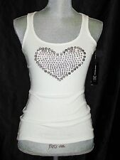 INC Womens Tank Top Rhinestone HEART Design White NWT Retail $49.50 XS