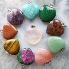 10pcs Beautiful Mixed Gemstone Heart Pendant Bead W0064549