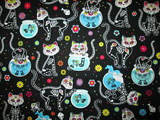 CATS XRAY SKELETON FISH BLACK VET DOCTOR NURSE DENTIST COTTON FABRIC BTHY