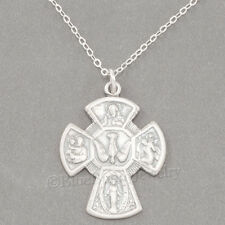 FOUR 4 WAY CROSS Catholic Medal Scapular Pendant 925 Sterling Silver Necklace