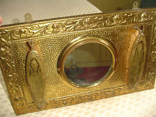 Vintage Brass Hall Mirror *Last Look* & Clothes Brushes Scottish Thistle Design