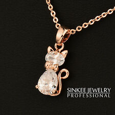 Cute Small Crystal Cat Pendant Animal Necklace For Women 18K Rose Gold XL534