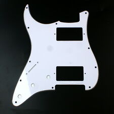 Left handed Strat style HH Layout Guitar Pickguard ,3ply White