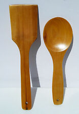 2pc Bamboo Spoon and Spatula Kitchen Utensil Set Green Organic Safe Bamboo