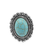 New Arrival Fashion Popular Silver Plated Oval Shape Turquoise Ring Adjustable