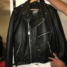 Men's Black Leather Perfecto Motorcycle Jacket Size 48