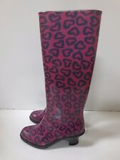 MARC JACOBS Heart Print Pink Blue Rubber Rainboots Boots 36 MADE IN ITALY EUC