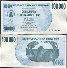 ZIMBABWE 100,000 10000 DOLLARS 2007 P 48 XF/AU