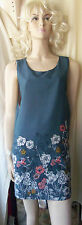 £70 DARLING DUSTY BLUE LIGHT FLORAL PRINT SMOCK SLEEVELESS SHIFT DRESS SIZE M/12