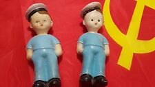 VINTAGE SAILOR SEAMAN DOLL TOYS 1960's FATHER AND SON RUSSIA CCCP USSR RUBBER