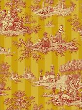 Wallpaper Designer French Country English Cottage Toile Stripe Red Golden Yellow