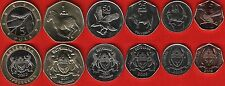 Botswana set of 6 coins: 5 thebe - 5 pula 2001-2009 UNC