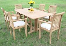 """Sam Grade-A Teak 7pc Dining 69"""" Console Rectangle Table 6 Stacking Arm Chair Set"""