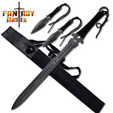 NEW Fantasy Master Serrated Long Sword with Two Throwing Knives Anime Blade