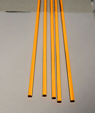 """5 PC 1/4"""" DIAMETER 12"""" LONG CLEAR AMBER ACRYLIC TRANSLUCENT PLASTIC COLORED ROD"""