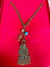LILLY PULITZER Necklace gold tone Seahorse charm Beaded tassel Chunky chain