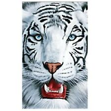 White Snow Tiger Face Bath, Pool Cotton Velour Beach Towel Souvenir - 40X70