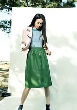 New with tags! 2015 GORMAN green gathered leather skirt * size 10