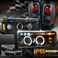 94-01 Dodge Ram 1500 2500 3500 Halo Projector LED Headlights + Tail Lights Black
