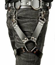 Leather Thigh Harness Leg Garter with Ring & buckle for Jeans or Pants-Black