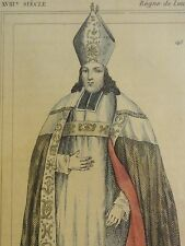 CHARLES DE St. ALBIN - bishop and duke of laon - Antiker Kolor Stich um 1700