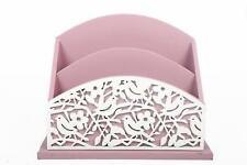 Wooden Letter Rack Holder Desk Tidy Cutout Bird Floral Pink White Country Living
