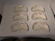 SIX HAVILAND LIMOGES PINK FLOWERS ON WISPY BRANCHES CRESCENT BONE DISHES  -   NR