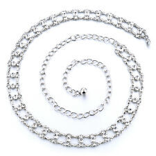 Plata diamante/diamond señoras Cintura chain/charm Belt - One Size Fits All - 284