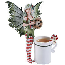 Amy Brown Christmas Elf Faery Cookie Statue Hot Candy Cane Tea Cup Fairy Santa