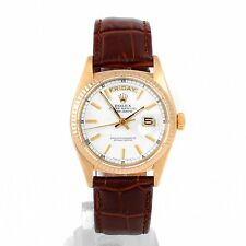 Rolex Men's 18K-YG Day-Date President - White Stick Dial on a Brown Leather