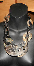 necklace tribal ethnic massive runway natural horn wood bib choker