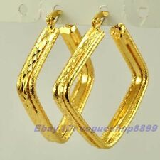 "1.42"" REAL UNIQUE 18K YELLOW GOLD GP HOOP EARRINGS RHOMBUS SOLID FILL GEP EARBOB"