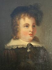 Early Antique Oil On Board Portrait Of A Young Boy Signed On Back