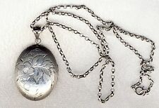 "Antique Victorian Sterling Silver Photo Locket and Belcher Chain 20""  15.1gms"