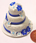 1/12th Scale 3 Tier Wedding Cake With Blue/White Flowers Dolls House Miniature Z