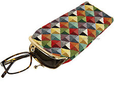 Signare Ladies Tapestry Metal Frame Kiss Clasp Glasses Case Pouch - Triangle