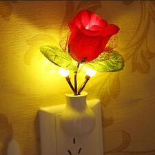Light Sensor Control LED Plug In Rose Flower Night Lamp Kid Bedroom Wall Bulb LW