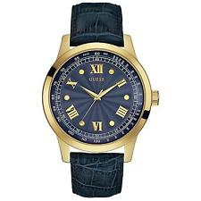 Guess Men's 45mm Blue Calfskin Stainless Steel Case Mineral Glass Watch W0662G3