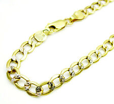 "2.60Grams 4.3mm 8"" Mens 10k Yellow Two Tone Real Gold Cuban Diamond Cut Bracelet"