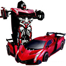 Transformers Radio Remote Control Twist Deformation Car Robot Vehicle Toy - Red