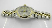 Rolex 18K Gold & SS Gray Arabic Dial Ladies 67193 No Holes